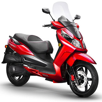 SYM brand scooter model Citycom in red, 3/4 view right front
