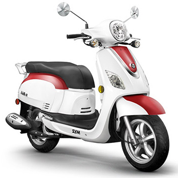 SYM brand scooter model Fiddle in white with red, 3/4 view right front