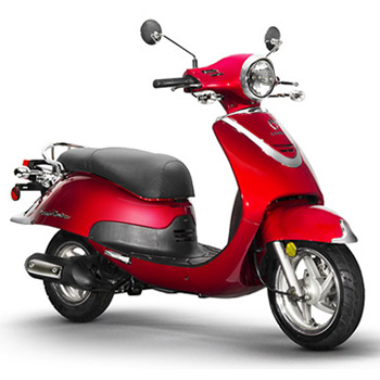 Lance brand scooter model Havana Classic in red, 3/4 view right front