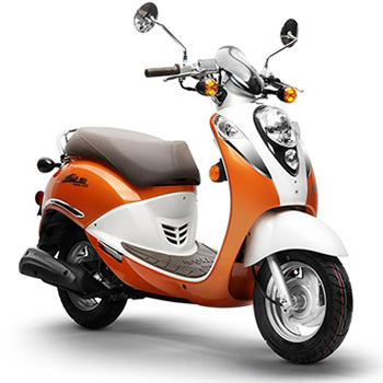 SYM brand scooter model Mio in orange and white, 3/4 view right front