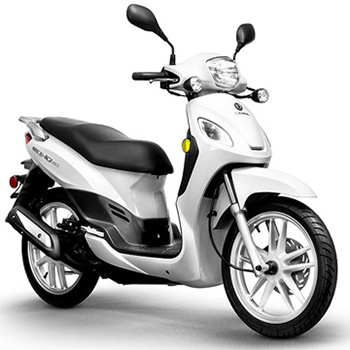 Lance brand scooter model Soho in white, 3/4 view right front