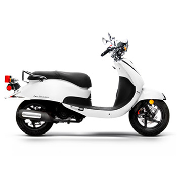 Lance brand scooter model Cali Classic in white, side view right