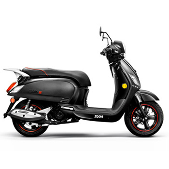 SYM brand scooter model Fiddle in black, right side