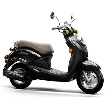 SYM brand scooter model Mio in black, right side