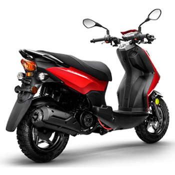 Lance brand scooter model Cabo in red 3/4 view rear right.