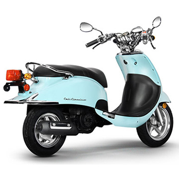 Lance brand scooter model Cali Classic in blue, 3/4 view right rear