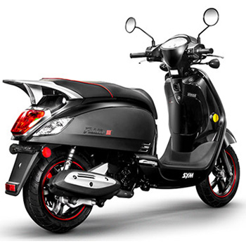 SYM brand scooter model Fiddle in black, 3/4 view right rear