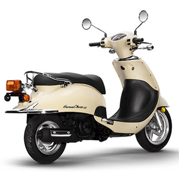 Lance brand scooter model Havana Classic in yellow, 3/4 view right rear