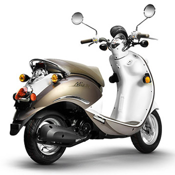 SYM brand scooter model Mio in hot chocolate, 3/4 view right rear