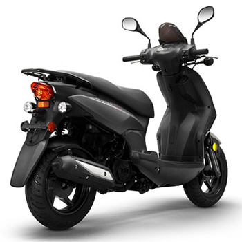Lance brand scooter model PHC in black, 3/4 view right rear