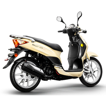 Lance brand scooter model Soho in yellow, 3/4 view right rear