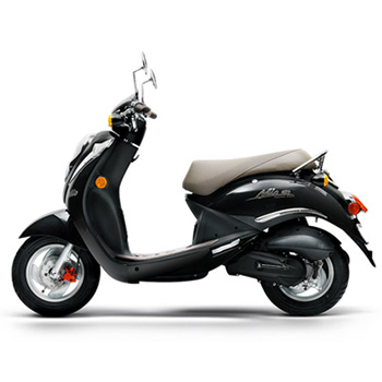 SYM brand scooter model Mio in black, left side