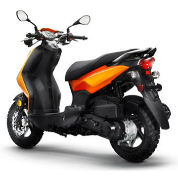 Lance brand scooter model Cabo in orange, 3/4 view rear left