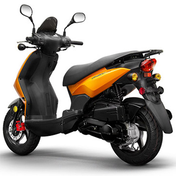 Lance brand scooter model PHC in orange, 3/4 view left rear