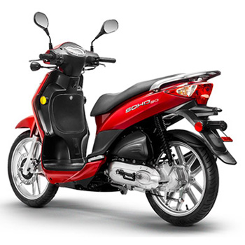 Lance brand scooter model Soho in red, 3/4 view left rear
