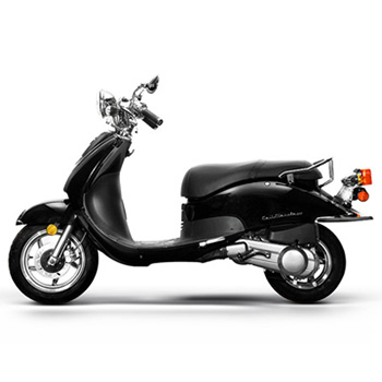 Lance brand scooter model Cali Classic in black, side view left