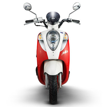 SYM brand scooter model Mio in red and white, front