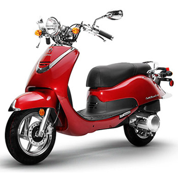 Lance brand scooter model Cali Classic in red, 3/4 view left front