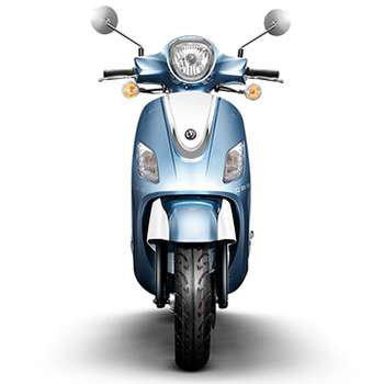 SYM brand scooter model Fiddle in blue, front