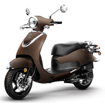 Lance brand scooter model Havana Classic in chocolate, 3/4 view left front