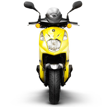 Lance brand scooter model PHC in yellow, front