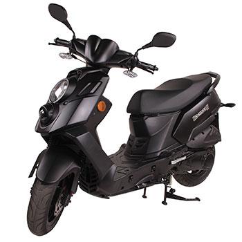 Genuine brand scooter, model Hooligan in black, 3/4 view front left