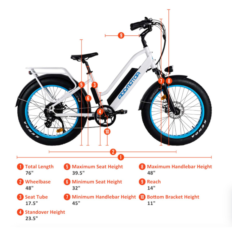 Addmotor M430 electric bicycle measurements