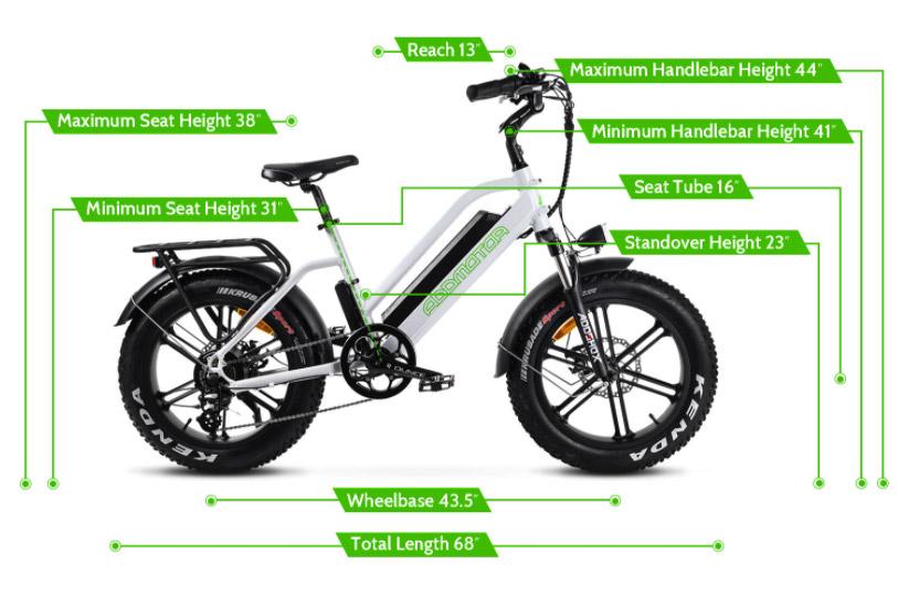 Addmotor Motan M50 Electric Bicycle - measurements