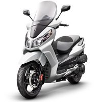 SYM brand scooter model Citycom in white, 3/4 view left front