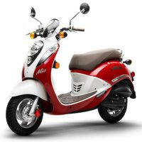 SYM brand scooter model Mio in red and white, 3/4 view left front