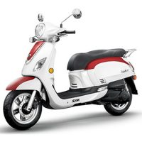 SYM brand scooter model Fiddle in white with red, 3/4 view left front