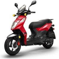 Lance brand scooter model PHC in red, 3/4 view left front