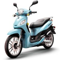 Lance brand scooter model Soho in blue, 3/4 view left front